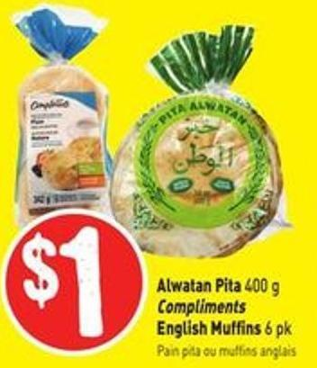 Alwatan Pita 400 g Compliments English Muffins 6 Pk