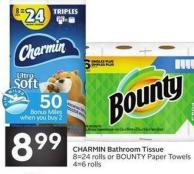 Charmin Bathroom Tissue 8=24 Rolls or Bounty Paper Towels4=6 Rolls - 50 Air Miles Bonus Miles