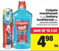 Colgate Mouthwash 1 L Or Battery Toothbrush