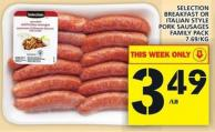 Selection Breakfast Or Italian Style Pork Sausages Family Pack