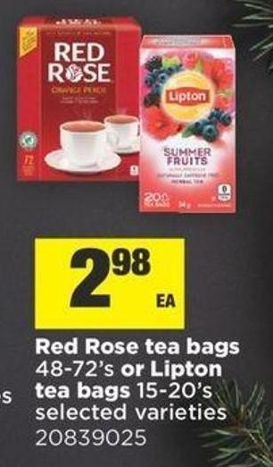 Red Rose Tea Bags - 48-72's Or Lipton Tea Bags - 15-20's