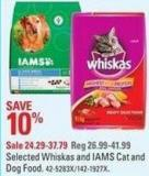 Selected Whiskas and Iams Cat and Dog Food