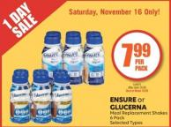 Ensure or Glucerna Meal Replacement Shakes 6 Pack