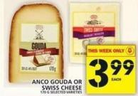 Anco Gouda Or Swiss Cheese 170 G