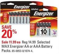 Selected Max Energizer Aa or Aaa Battery Packs