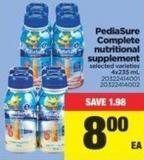 Pediasure Complete Nutritional Supplement.4x235 mL