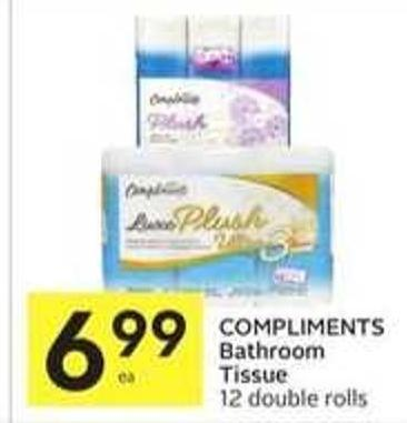 Compliments Bathroom Tissue 12 Double Rolls