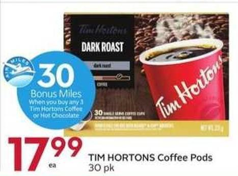 Tim Hortons Coffee Pods - 30 Air Miles Bonus Miles