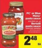 PC Or Blue Menu Pasta Sauce - 410/650 mL or Bertolli Pasta Sauce