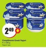 Compliments Greek Yogurt 4 X 100 g