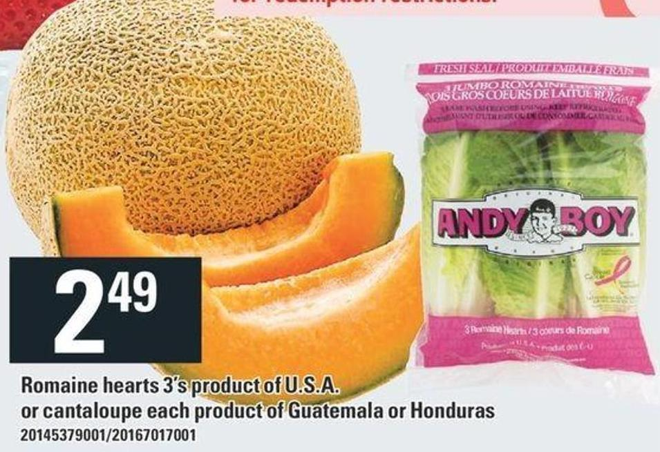 Romaine Hearts 3's Or Cantaloupe