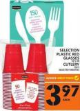Selection Plastic Red Glasses Or Cutlery