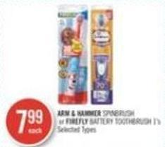 Arm & Hammer Spinbrush or Firefly Battery Toothbrush