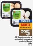 PC Organics Cremini Or White Whole Mushrooms - 227 G