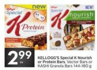 Kellogg's Special K Nourish or Protein Bars - Vector Bars or Kashi Granola Bars 144-180 g