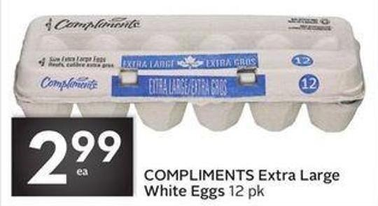 Compliments Extra Large White Eggs