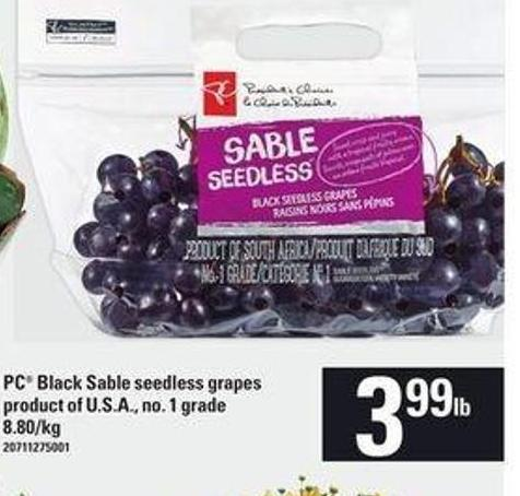 PC Black Sable Seedless Grapes