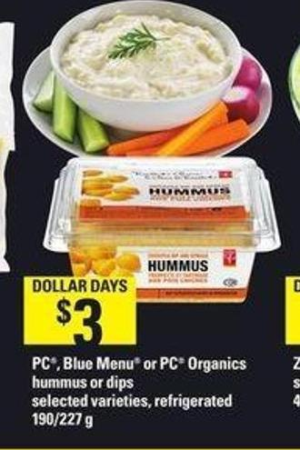 PC - Blue Menu Or PC Organics Hummus Or Dips - 190/227 g
