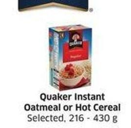 Quaker Instant Oatmeal or Hot Cereal Selected -