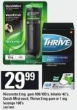 Nicorette 2 Mg GUM 100/105's - Inhaler 42's - Quick Mist Each - Thrive - 2 Mg GUM Or 1 Mg Lozenge - 108's