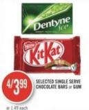 Selected Single Serve Chocolate Bars or Gum