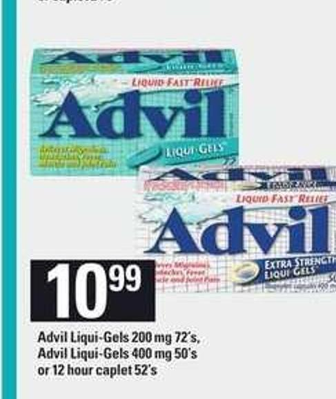 Advil Liqui-gels 200 Mg 72's - Advil Liqui-gels - 400 Mg 50's or 12 Hour Caplet - 52's