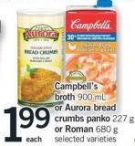 Campbell's Broth - 900 Ml Or Aurora Bread Crumbs Panko - 227 G Or Roman - 680 G