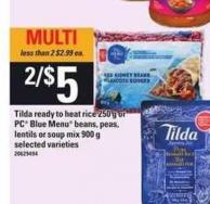 Tilda Ready To Heat Rice - 250 g Or PC Blue Menu Beans - Peas - Lentils Or Soup Mix - 900 g