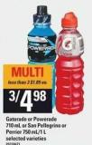 Gatorade Or Powerade - 710 mL Or San Pellegrino Or Perrier - 750 Ml/1 L