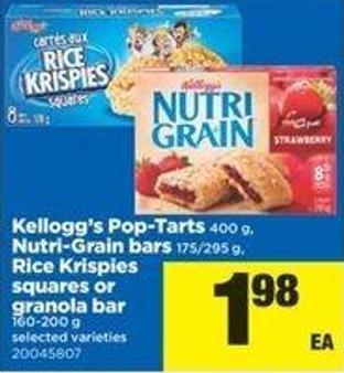 Kellogg's Pop-tarts - 400 G - Nutri-grain Bars - 175/295 G - Rice Krispies Squares Or Granola Bar - 160-200 G