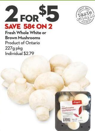 Fresh Whole White or Brown Mushrooms