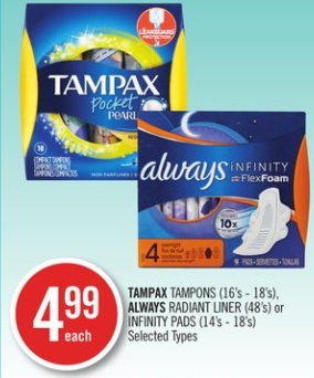 TAMPAX TAMPONS (16's - 18's), ALWAYS RADIANT LINER (48's) or INFINITY PADS (14's - 18's)
