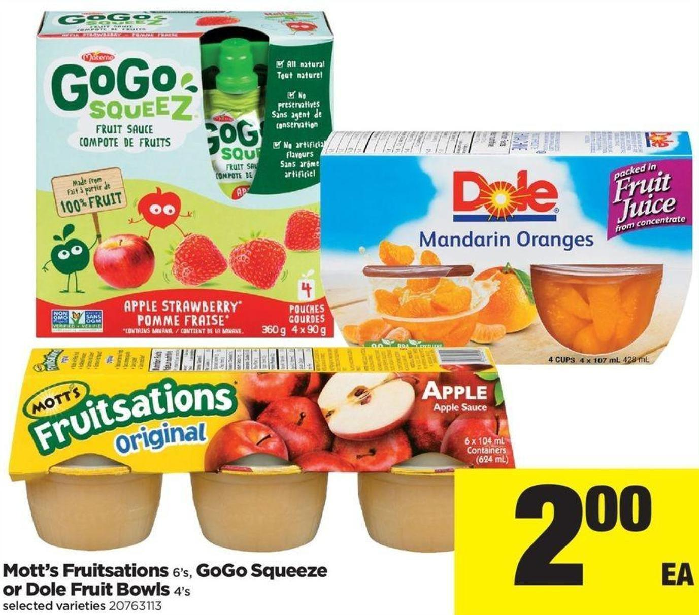 Mott's Fruitsations - 6's - Gogo Squeeze or Dole Fruit Bowls - 4's