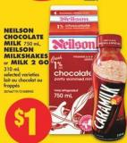 Neilson Chocolate Milk 750 mL - Neilson Milkshakes or Milk 2 Go 310 mL