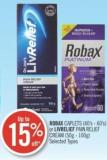 Robax Caplets (40s-60's) or Liverlife Pain Relife Cream (50g-100g)