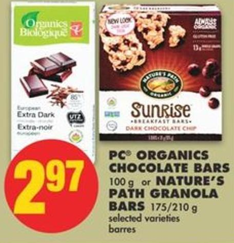 PC Organics Chocolate Bars - 100 g or Nature's Path Granola Bars - 175/210 g