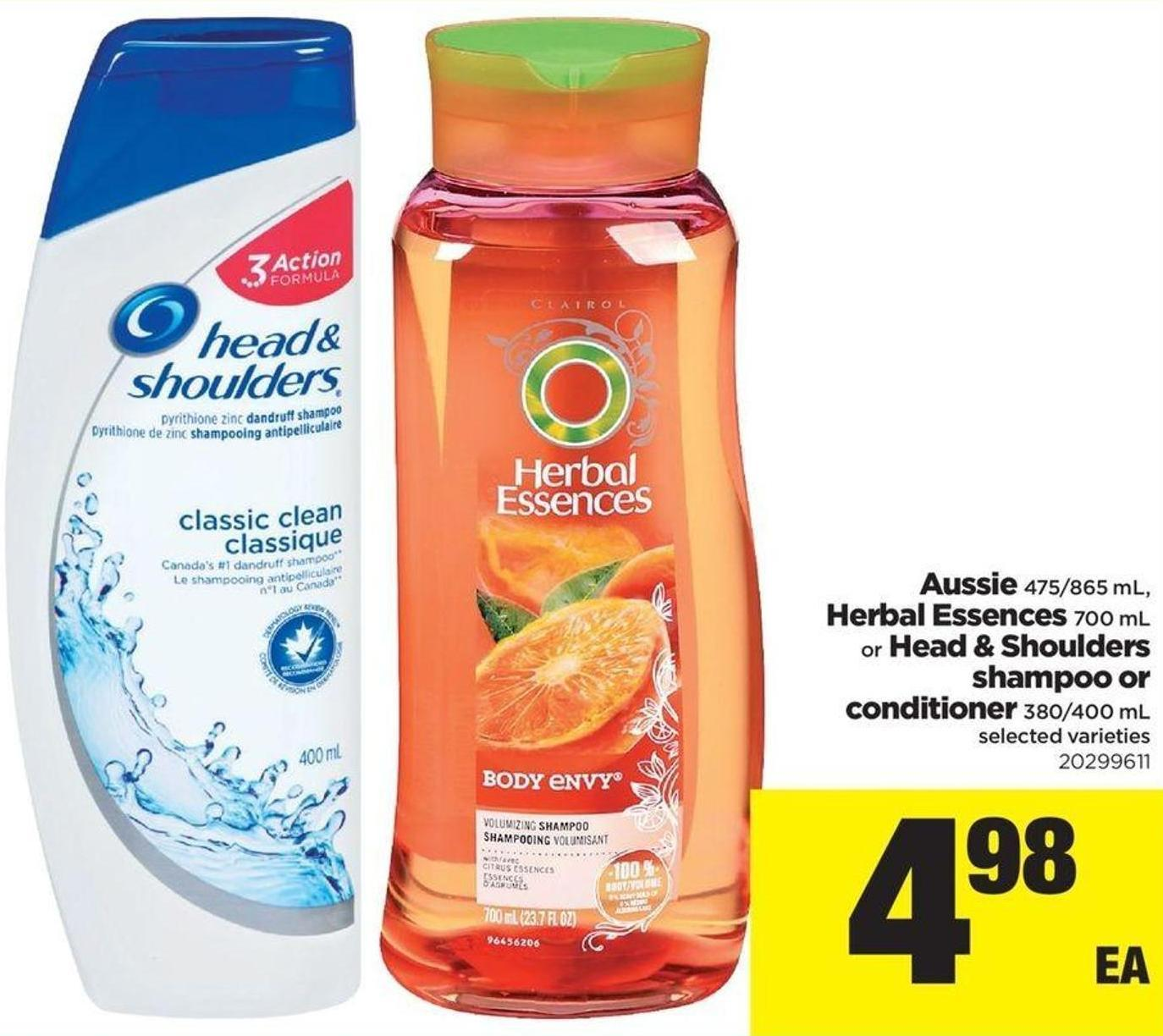 Aussie - 475/865 Ml - Herbal Essences - 700 Ml or Head & Shoulders Shampoo or Conditioner - 380/400 Ml