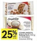 Compliments Baking Nuts 100 g or Shredded Coconut 200 g