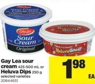 Gay Lea Sour Cream - 425/500 Ml Or Heluva! Dips - 250 G
