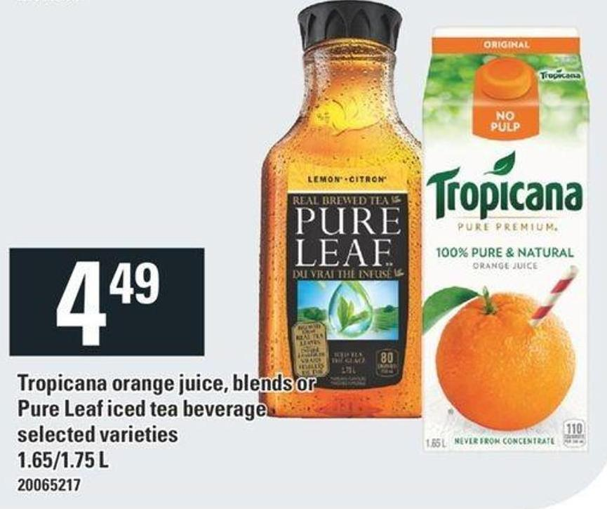 Tropicana Orange Juice - Blends Or Pure Leaf Iced Tea Beverage - 1.65/1.75 L