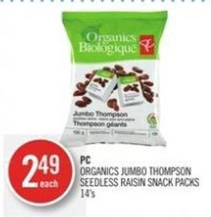 PC Organics Jumbo Thompson Seedless Raisin Snack Packs 14's