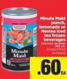 Minute Maid Punch - Lemonade Or Nestea Iced Tea Frozen Beverages - 295 mL