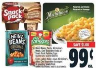 Heinz Beans - Pasta - Michelina's Meals - Chef Boyardee Pasta Or Snack Pack Pudding Cups