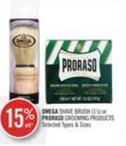 Omega Shave Brush (1's) or Proraso Grooming Products