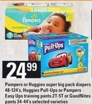 Pampers or Huggies Super Big Pack Diapers 48-124's - Huggies Pull-Ups or Pampers Easy Ups Training Pants 2t-5t or Goodnites Pants 34-44's