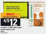 No Name Or Asb Cedar Mulch Natural - Black Or Red - 42.5 L