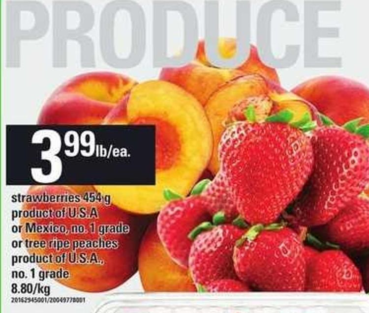 Strawberries - 454 G Or Tree Ripe Peaches