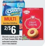 Christie Snack Pack 180/225 g Or Peek Freans 256-350 g Cookies