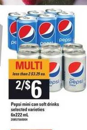 Pepsi Mini Can Soft Drinks - 6x222 mL