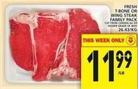 Fresh T-bone Or Wing Steak Family Pack